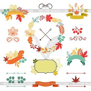 Autumn leaves Satz von Kranz, Farbbänder und Etiketten - Royalty-Free Clipart