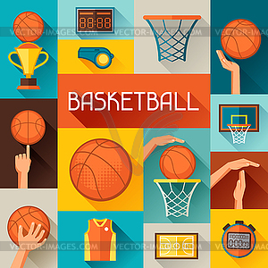 Sport Hintergrund mit Basketball-Ikonen in Flach - Royalty-Free Clipart