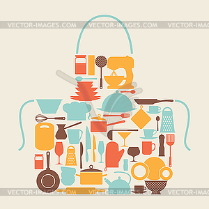 Hintergrund mit Küche und Restaurant Utensilien - Vektor-Clipart / Vektorgrafik