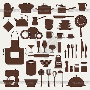 Küchen-und Restaurant-Icon-Set von Geschirr - Vector-Clipart EPS