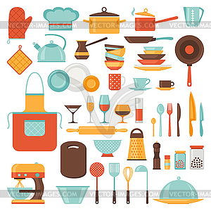 Küchen-und Restaurant-Icon-Set von Geschirr - vektorisiertes Clipart