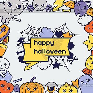 Halloween kawaii Grußkarte mit niedlichen doodles - Vector-Clipart EPS