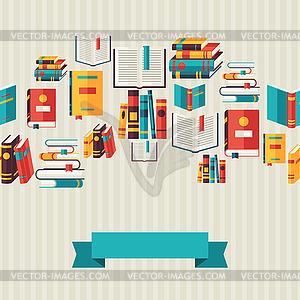 Nahtlose Muster mit Bücher in flachen Design-Stil - farbige Vektorgrafik