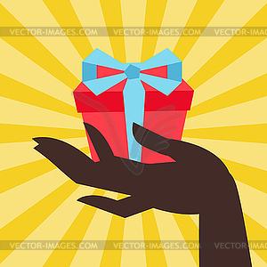 Karte weiblichen Hand holding Geschenk-Box - Klipart