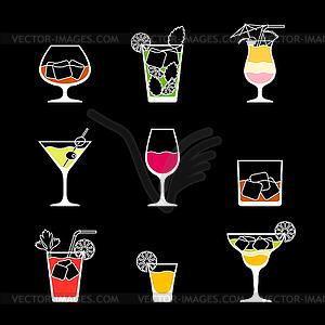 Alkohol Getränke und Cocktails Symbol im Flach desig eingestellt - Vektor-Bild