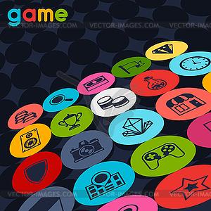 Hintergrund mit Spiel-Icons im Flat-Design-Stil - Vector-Bild