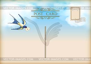 Sky Vogelbriefpost Postkarte - Vector-Abbildung