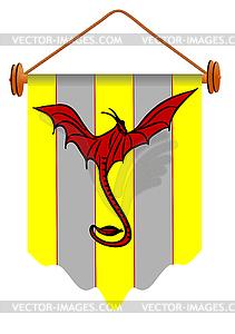 Fahne mit Drachen - Vector-Clipart / Vektor-Bild