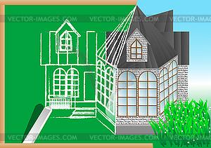 Grünen Tafel mit Architekturprojekt - Stock-Clipart