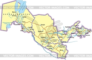 Landkarte von Usbekistan - farbige Vektorgrafik