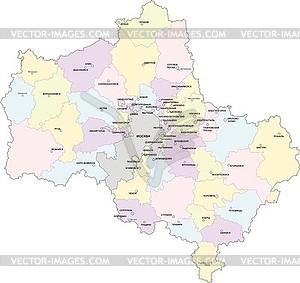 Landkarte von Oblast Moskau mit Grenzen der Kreise - vektorisiertes Bild