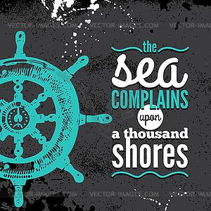 Reise Grunge Hintergrund. Sea nautischen Design. - Vector-Clipart / Vektor-Bild