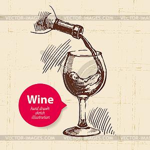 Wein-Jahrgang Hintergrund mit Banner. Skizze - Vektor-Design