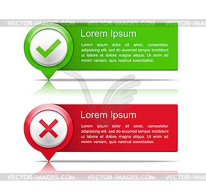 Banner mit Kreuz prüfen und Symbole - Vektor-Clipart / Vektorgrafik