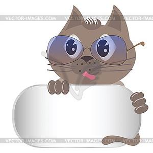 Graue Katze mit Brille - Vektorgrafik-Design