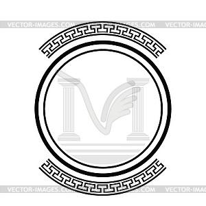 Alten Säulen - schwarzweiße Vektorgrafik