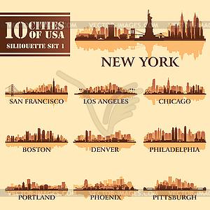Silhouette Stadt Reihe von USA - Vektor-Clipart / Vektor-Bild