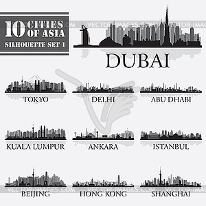 Set Skyline von Städten Silhouetten. 10 Städte Asi - Vektor-Clipart / Vektor-Bild