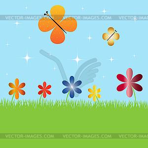 Sommerlandschaft mit Blumen und Schmetterlingen - Vector Clip Art