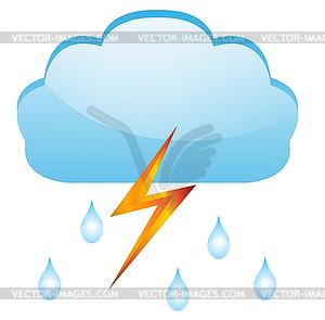 Tropfen regen und Blitz, - Stock Vektor-Bild