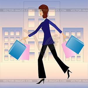 Junge Geschäftsfrau mit Kauf beeilen Hause - farbige Vektorgrafik