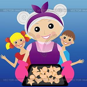 Großmutter bereitet köstliche Dessert für - Royalty-Free Vektor-Clipart