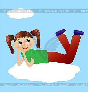 Fröhlich Mädchen liegen auf Wolke - Vektor-Bild