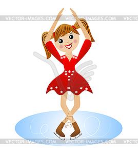 Fröhliche Mädchen strebt Laufwerk im schönen Kleid auf - Vector-Clipart / Vektor-Bild
