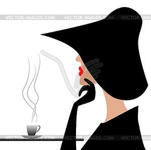 Geheimnisvollen Fremden im schwarzen Hut - farbige Vektorgrafik