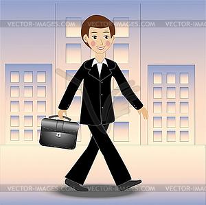 Fröhlich Geschäftsmann Spaziergänge entlang der Straße auf der Arbeit - vektorisiertes Clipart