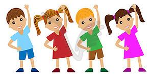 Дети занимаются спортом делать физические упражнения