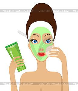 Junge Frau mit Kosmetik-Maske auf Gesicht - Vektorgrafik-Design