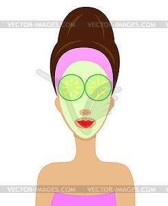 Junge Frau mit Kosmetik-Maske auf Gesicht - farbige Vektorgrafik