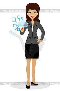 Business-Frau drückt einen virtuellen Zeigefinger - Vector-Clipart EPS