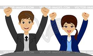 Geschäftsleute hob Hände nach oben und sind froh, - Vektorgrafik-Design