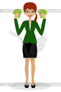 Erfolgreiche Business-Frau mit Geld in Händen - Stock-Clipart