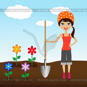 Junge Frau Pflanze Blume im Boden - Vector-Clipart / Vektor-Bild