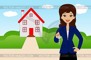 Junge Frau mit Schlüssel in der Hand auf Hintergrund neue - Vektorgrafik
