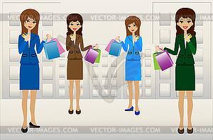 Business-Frauen mit Kreditkarten und Einkäufe in - Vector-Clipart / Vektor-Bild