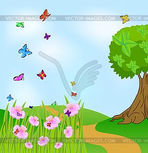 Sommerlandschaft mit Blumen und Schmetterlingen - vektorisiertes Clipart