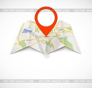 Navigation Karte mit roten Stift - Vector-Clipart / Vektor-Bild
