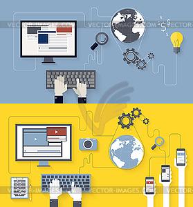 Web-Entwicklung und Design-Blogging - Vektor-Clipart / Vektorgrafik