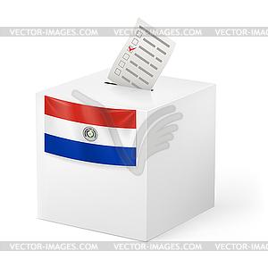 Wahlurne mit Stimmzettel. Paraguay - Vector-Clipart EPS