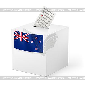 Wahlurne mit Stimmzettel. Neuseeland - Vector-Clipart EPS