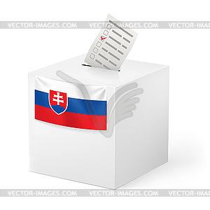 Wahlurne mit Stimmzettel. Slowakei - vektorisierte Grafik