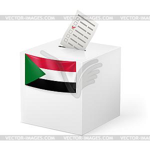 Wahlurne mit Stimmzettel. Sudan - Stock-Clipart
