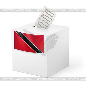 Wahlurne mit Stimmzettel. Trinidad und Tobago - Vektorgrafik-Design