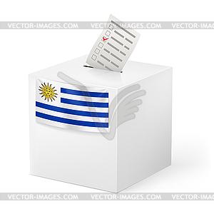 Wahlurne mit Stimmzettel. Uruguay - vektorisiertes Design