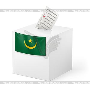 Wahlurne mit Stimmzettel. Mauretanien - Stock Vektorgrafik
