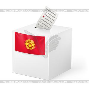 Wahlurne mit Stimmzettel. Kirgisistan - Vector-Clipart EPS
